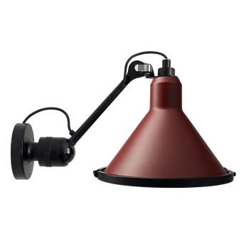 DCW Lampe Gras No 304 XL Seaside, konisch, Struktur schwarz, Schirm rot