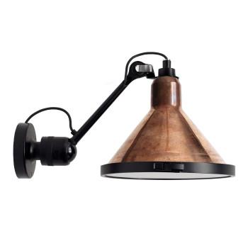 DCW Lampe Gras No 304 XL Seaside, konisch, Struktur schwarz, Schirm Kupfer roh