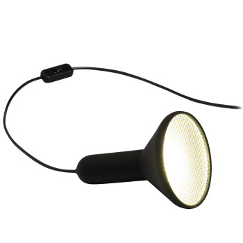 Established & Sons Torch Light T1 Cone, black / black cable