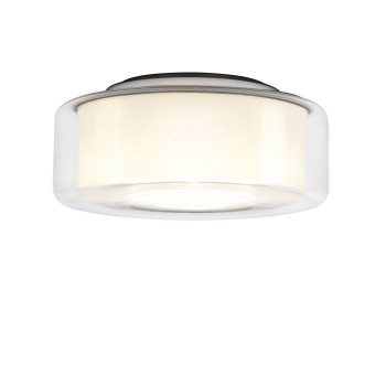 Serien Lighting Curling Ceiling M LED, 2700K, Glasschirm klar, Reflektor zylindrisch opal / dimmbar TRIAC