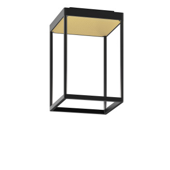 Serien Lighting Reflex² Ceiling S 300, Gehäuse schwarz, Glas strukturiert hellgold