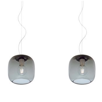 Casablanca Murea 2 Pendant Light, graphite glass