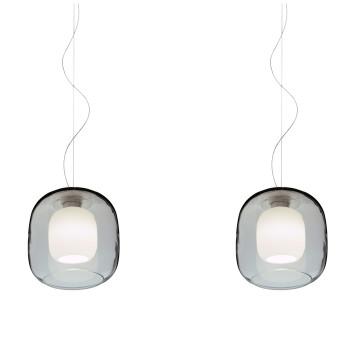 Casablanca Murea 2 Pendant Light, crystal glass / diffuser glass matt opal white