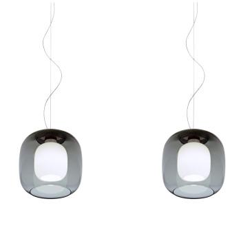Casablanca Murea 2 Pendant Light, graphite glass / diffuser glass matt opal white