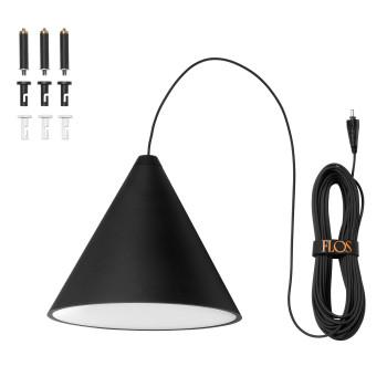 Flos String Light Cone, schwarz, 22m, Touch-Dimmer