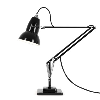 Anglepoise Original 1227 Desk Lamp, schwarz glänzend mit schwarzem Kabel
