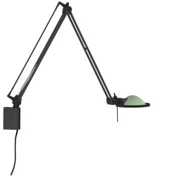 Luceplan Berenice Parete Piccola, Struktur schwarz, Glasreflektor salbeigrün