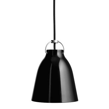 Fritz Hansen Caravaggio P1, schwarz hochglänzend, mit schwarzem Kabel