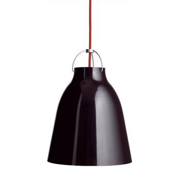 Fritz Hansen Caravaggio P2, schwarz hochglänzend, mit rotem Kabel