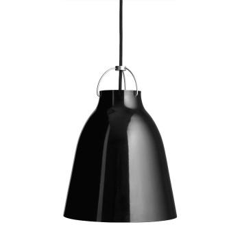 Fritz Hansen Caravaggio P2, schwarz hochglänzend, mit schwarzem Kabel