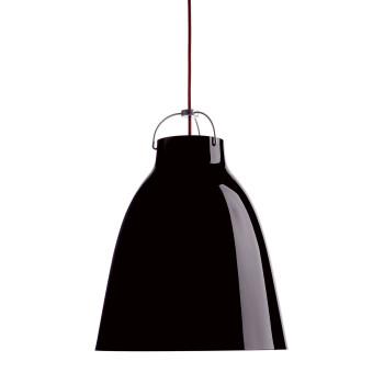 Fritz Hansen Caravaggio P3, schwarz hochglänzend, mit rotem Kabel